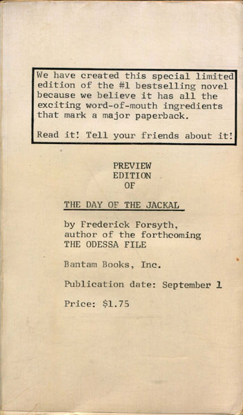 The Day Of The Jackal. by  Frederick. Forsyth