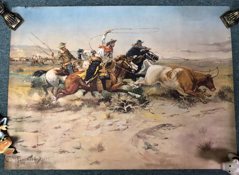 "21 1/2"" X 29 1/2"" Full-Color Print Of Three Cowboys With Lariats Extended, Pursuing A Run-Away Steer by  C.M Russell"