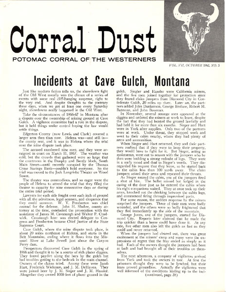 Incidents At Cave Gulch, Montana by  Gordon Ebersole