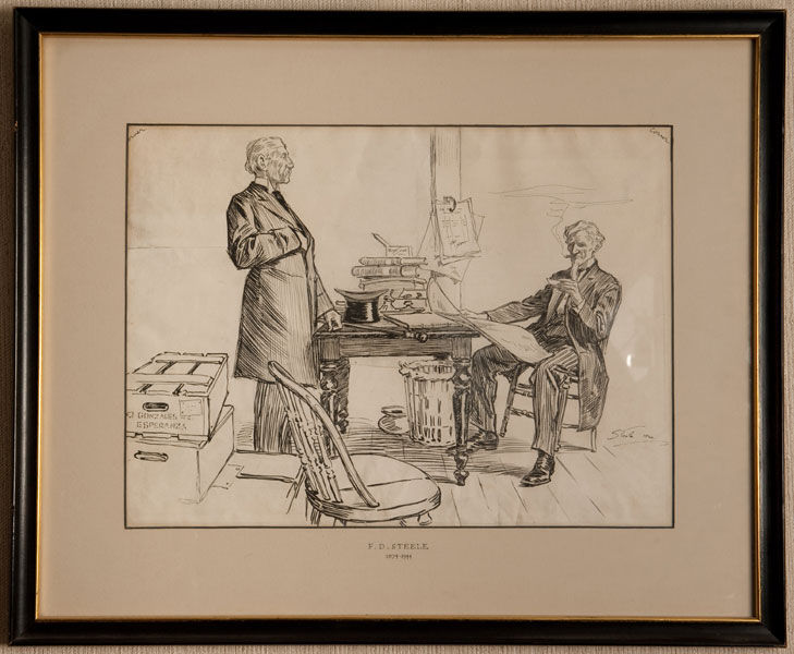 "18 3/4"" X 13 3/4"" Pen & Ink Drawing Signed ""Steele, 1904."" by Frederic Dorr (1874-1944). Steele"