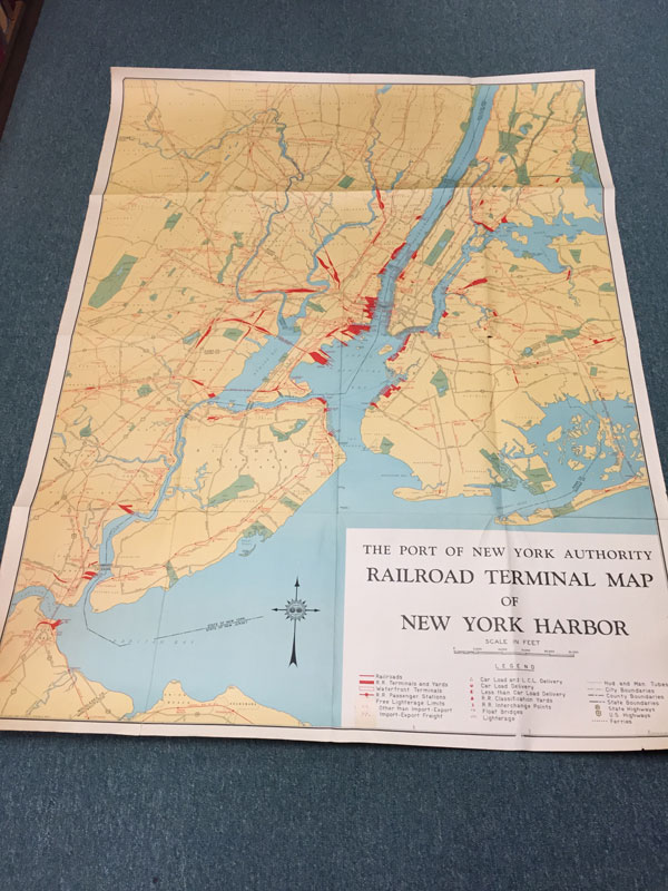 The Port Of New York Authority Railroad Terminal Map Of New York Harbor.