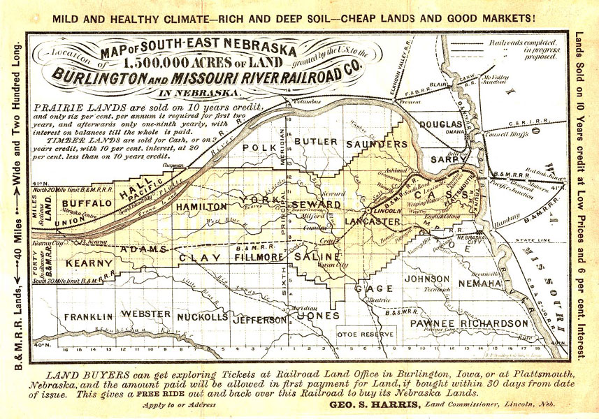 map of south east nebraska location of 1 500 000 acres of land granted by the u s to the burlington and missouri river