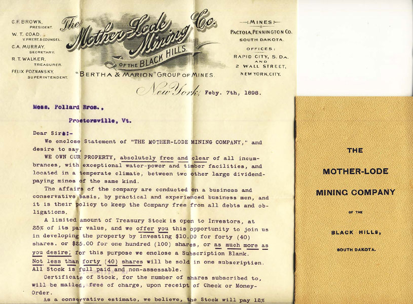 Prospectus  And Letter - The Mother-Lode Mining Company Of The Black Hills, South Dakota The Mother-Lode Mining Company Of The Black Hills, South Dakota