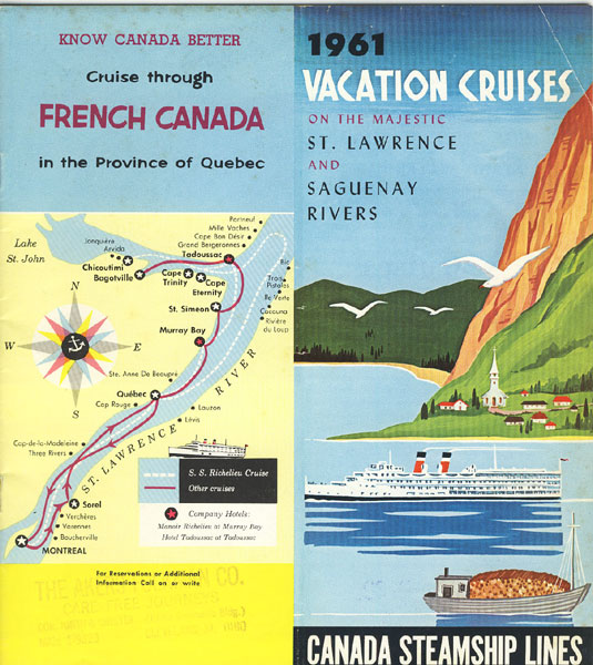 1961 Vacation Cruises On The Majestic St. Lawrence And Saguenay Rivers Canadian Steamship Lines