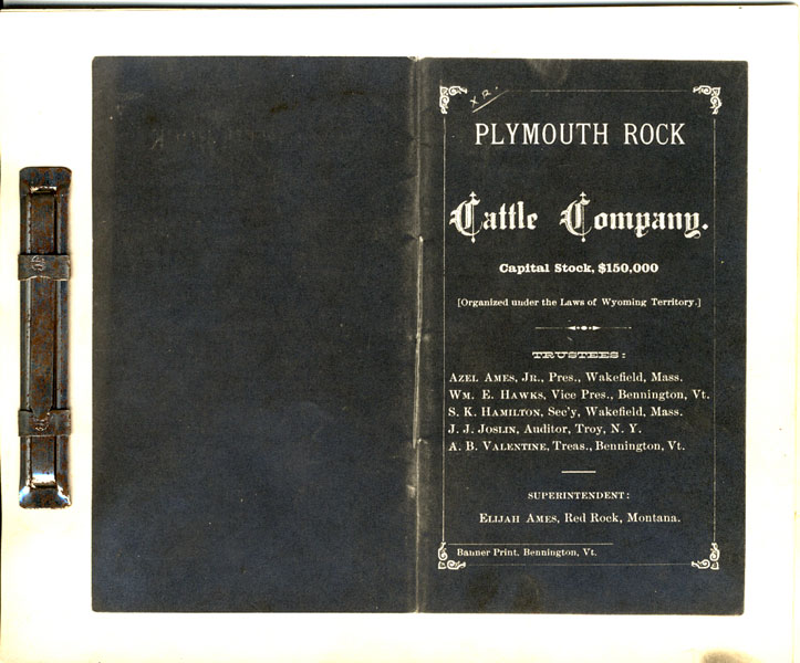 Schedule Of Ranches, Live Stock, And Personal Property Owned By The Plymouth Rock Cattle Company, January 1st, 1885 Plymouth Rock Cattle Company