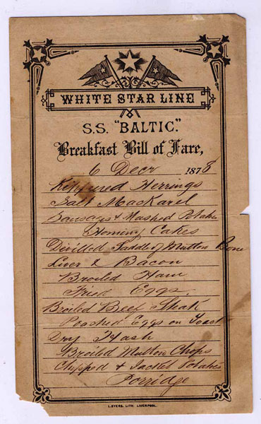 "White Star Line - S.S. ""Baltic,"" Breakfast Bill Of Fare"
