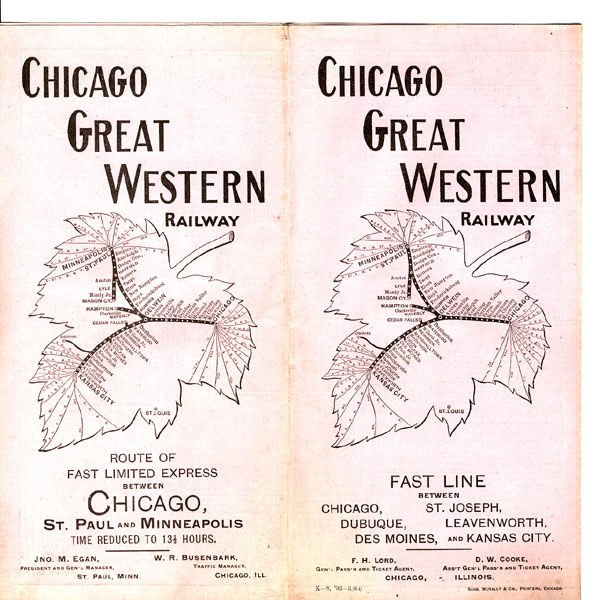 Fast Line Between Chicago, St. Joseph, Dubuque, Leavenworth, Des Moines, And Kansas City Chicago Great Western Railway