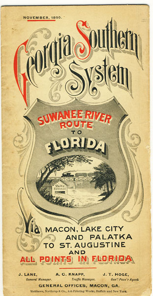 Georgia Southern System. Suwanee River Route To Florida Via Macon, Lake City And Palatka To St. Augustine And All Points In Florida by Georgia Southern System