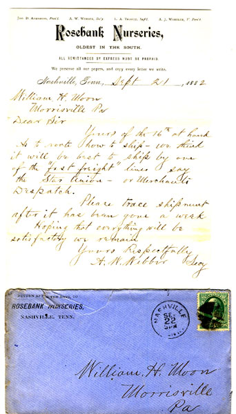 Rosebank Nurseries, Oldest In The South, Nashville, Tennessee, Hand-Written Letter Dated Sept. 21st, 1882, On Company Stationery by Rosebank Nurseries