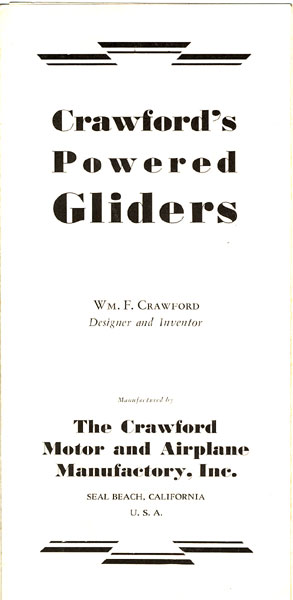 Crawford's Powered Gliders by Wm. F., Seal Beach, California Crawford