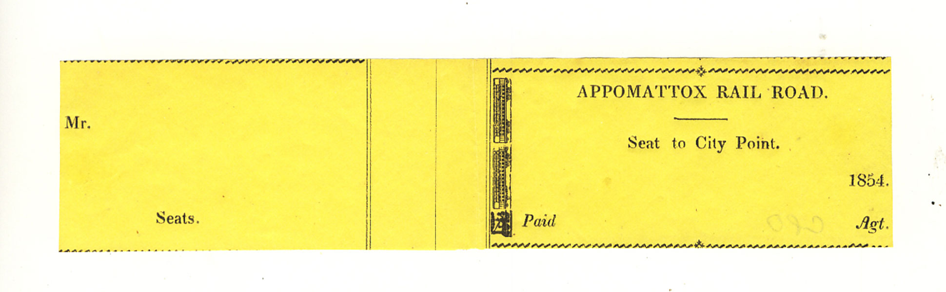 Appomattox Railroad Ticket by Appomattox Railroad Company