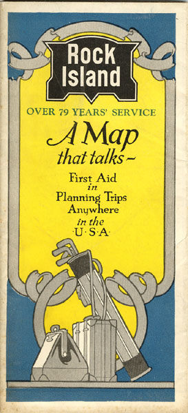 Rock Island, Over 79 Years' Service. A Map That Talks - First Aid In Planning Trips Anywhere In The U.S.A. by Rock Island & Pacific Railway Chicago