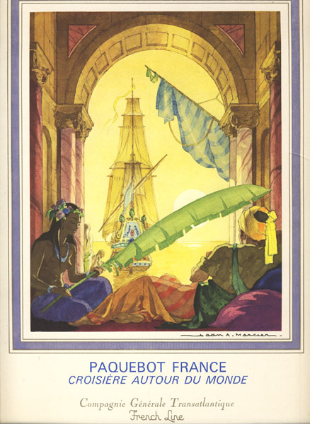Luncheon Menu For Paquebot France, Croisiere Autour Du Monde, The Compagne Generale Transatlantique French Line Ship, Dated February 12, 1974