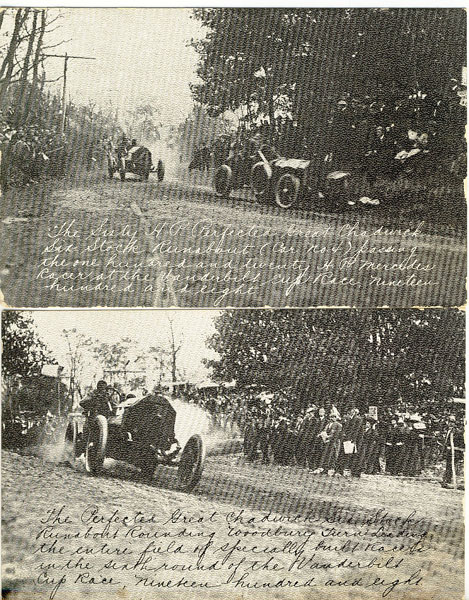 2 Postcards - 1908 Vanderbilt Cup Race, Long Island, New York