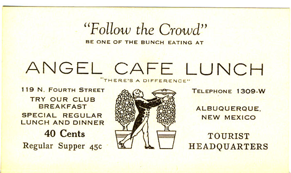 Promotional Advertising Card by Angel Cafe Lunch
