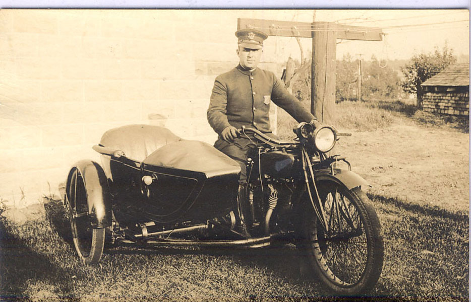 Postcard - Policeman On Motorcycle With Sidecar, Circa 1920