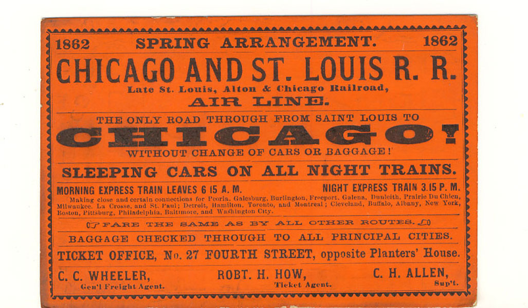 Trade Card. Spring Arrangement, Chicago And St. Louis R. R. 1862 by Chicago And St. Louis R. R