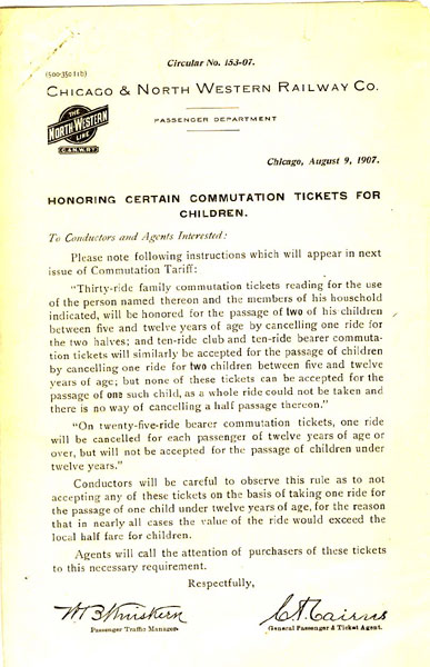 Children's Ticket Circular For The Chicago & North Western Railway Co Chicago & North Western Railway Co.