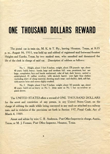 Wanted Broadside Issued By C.B. Anderson, Post Office Inspector In Charge, Austin, Texas, And M.J. Forman, Post Office Inspector, Houston, Texas  C. B. And M. J. Forman  Anderson [Post Office Inspectors]