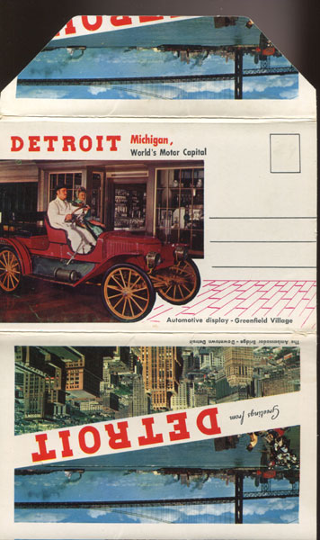 Detroit Michigan, World's Motor Capital Hiawatha Card Co., Psilanti, Michigan