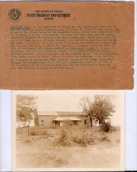 Original Photograph And Description Of Thomas S. Mcfarland Home In San Augustine County, Texas