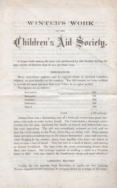 Winter's Work Of The Children's Aid Society, May 30, 1874  Charles L. Brace [Secretary, Children'S Aid Society]