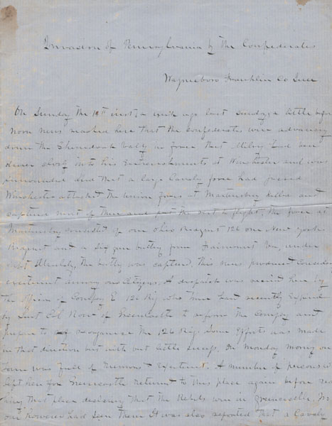 Invasion Of Pennsylvania By The Confederates (Manuscript Title) by Anonymous