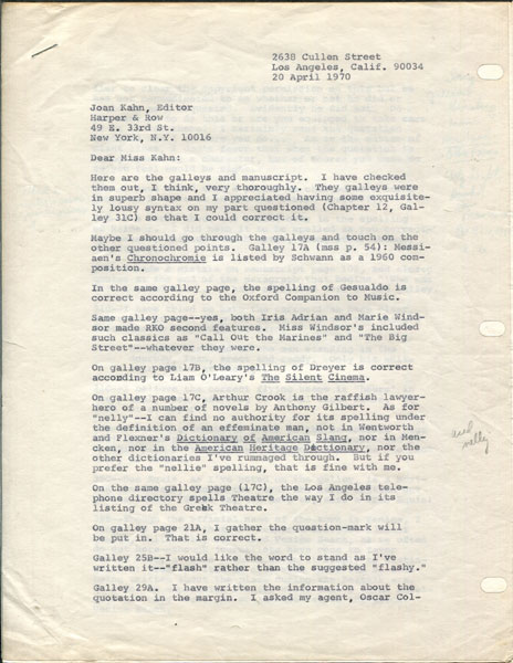 Four-Page Typed Letter Dated 20 April 1970, And Signed In Full By The Author by  Joseph Hansen