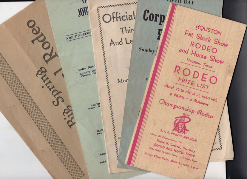 Five - Texas Rodeo Programs ... 1940 - 1947 Anonymous