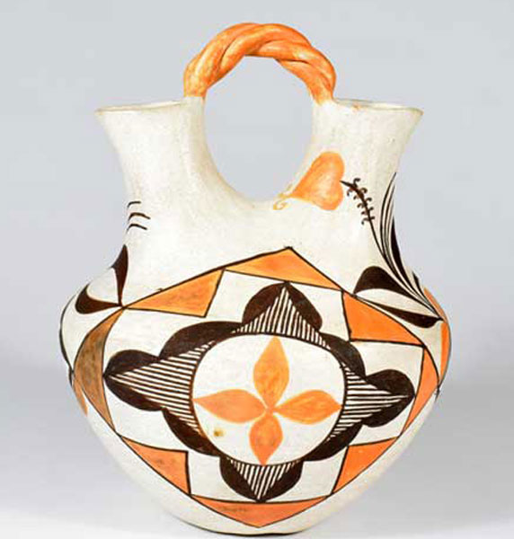 Contemporary Acoma Pueblo Polychrome Wedding Vase by Juana Leno