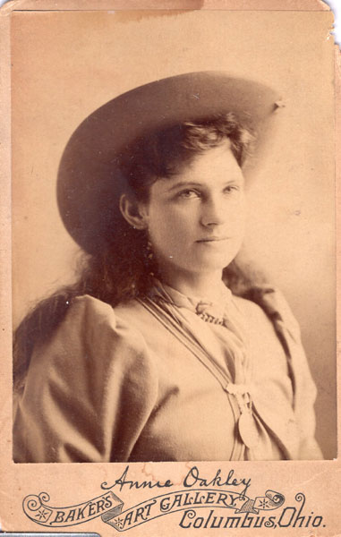 A Cabinet Photograph Card Of Annie Oakley by Baker'S Art Gallery