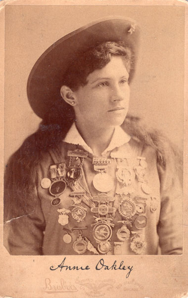 A Cabinet Photograph Card Of Annie Oakley by Brisbois Mosher Gallery Photographer