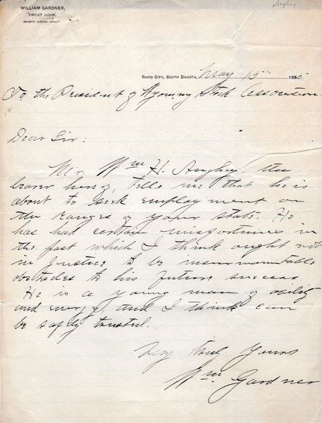 Two Manuscript Letters By And On Behalf Of Cowboy William Aughey, Seeking A Return To Employment On The Range In Wyoming by  William Aughey