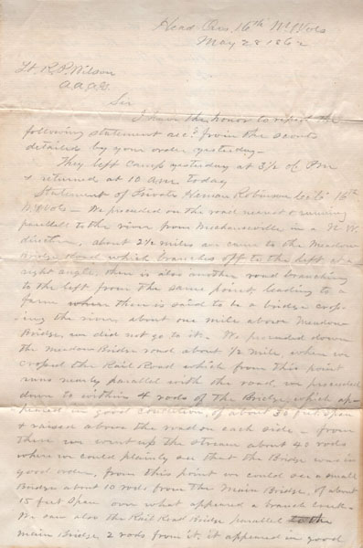 Civil War Scouting Report, May 28, 1862 by  Scott P., Acting Adjutant, 2Nd Lieutenant, Company C, 16Th New York Volunteers Moore