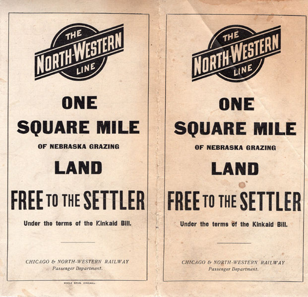 One Square Mile Of Nebraska Grazing Land.  Free To The Settler Under The Terms Of The Kinkaid Bill Chicago & North-Western Railway