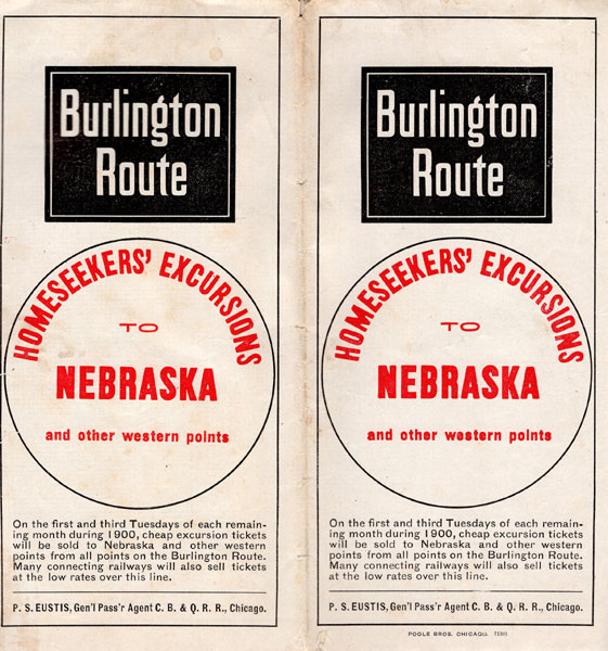 Burlington Route, Homeseekers' Excursions To Nebraska And Other Western Points  Burlington And Quincy Railroad, cag