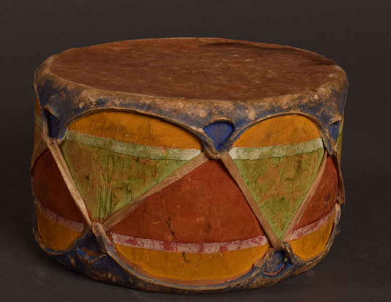 Cochiti Pueblo Vintage Small Handheld Drum by Artisan Unknown