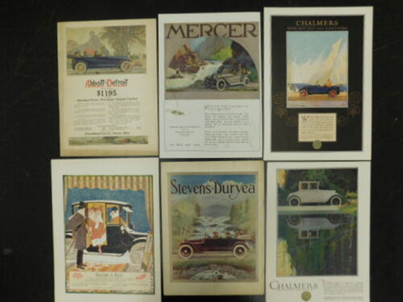 Collection Of Six 1910'S And 1920'S Automobile Advertisements To Include Chalmers, Mercer, Stevens-Duryea, Abbott-Detroit And Baker Electric Various