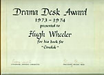 "Drama Desk Award 1973-1974 Presentedto Hugh Wheeler For His Book For ""Candide."" by Hugh Callingham. Wheeler"
