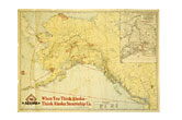 "31 1/4"" X 22 1/2"" Color Map Of Alaska By Alaska Steamship Compamy by Alaska Steamship Co."