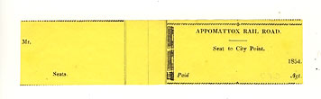 Appomattox Railroad Ticket