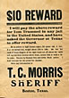 Wanted Broadside Issued By Sheriff T. C. Morris Of Boston, Texas, For Tom Trammel by  Sheriff T. C. Morris